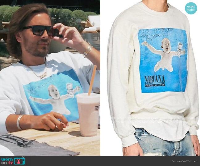 Nirvana Nevermind Sweatshirt by Madeworn worn by Scott Disick on Keeping Up with the Kardashians