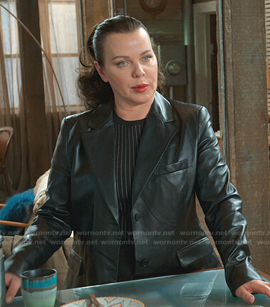 Maggie's black leather blazer on Younger