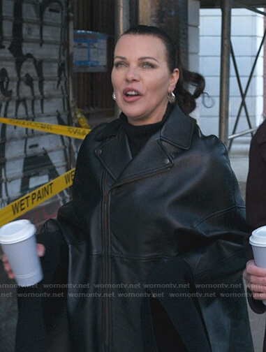 Maggie's black leather cape coat on Younger