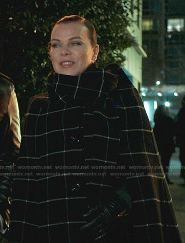 Maggie's black windowpane check coat with scarf on Younger