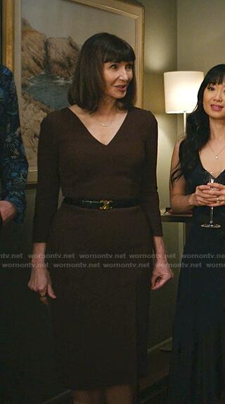 Maggie's brown v-neck sheath dress on Zoeys Extraordinary Playlist