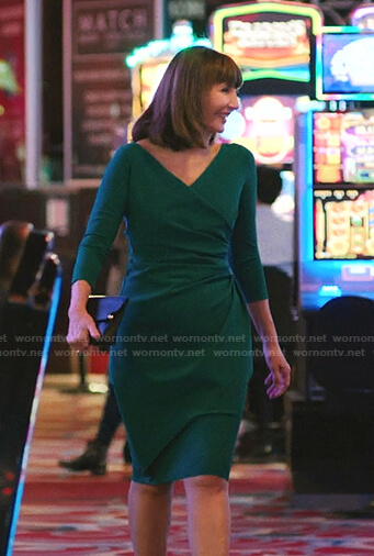 Maggie's green wrap dress on Zoeys Extraordinary Playlist