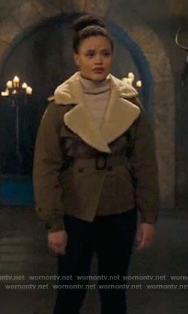 Maggie's jacket with sherpa collar on Charmed