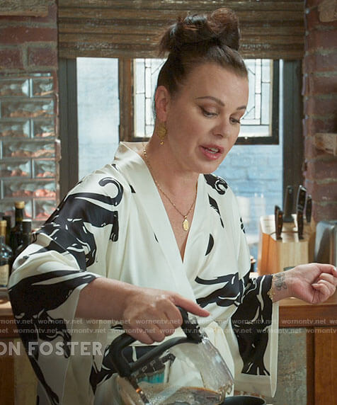 Maggie's black and white panther print robe on Younger