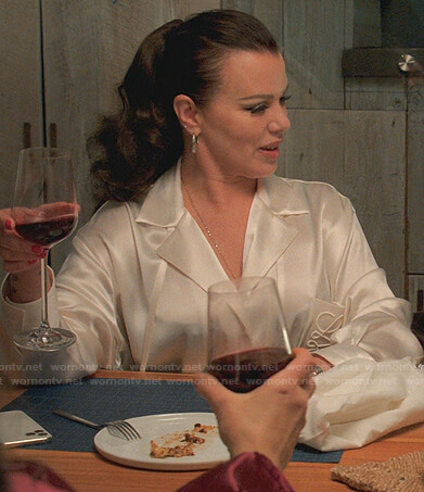 Maggie's white satin shirt on Younger
