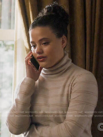 Maggie's white striped turtleneck sweater on Charmed