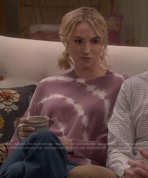 Mandy's pink tie dye sweater on Last Man Standing