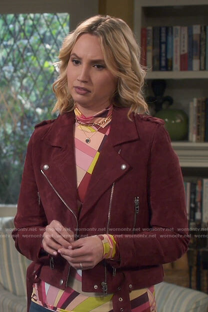Mandy's red suede moto jacket on Last Man Standing