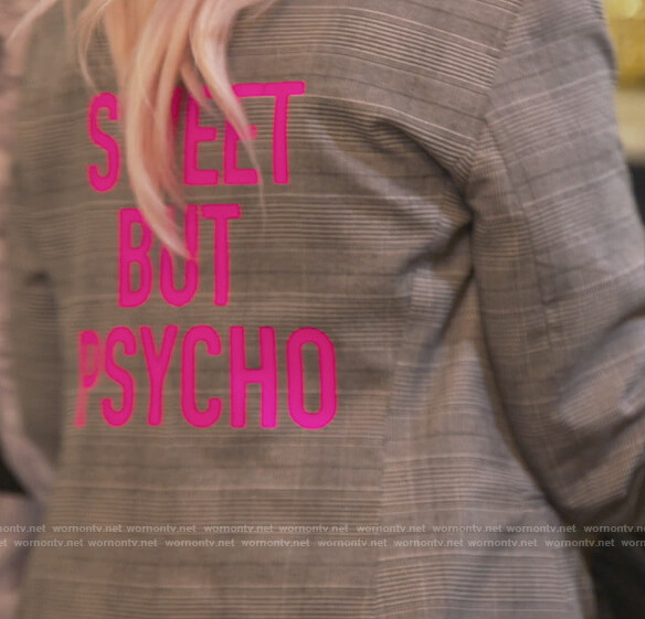 Margaret's plaid Sweet but Psyco blazer on The Real Housewives of New Jersey