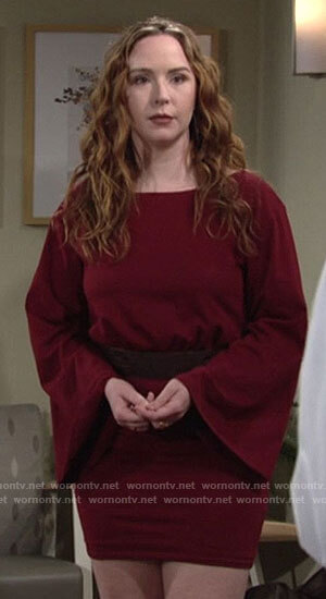Mariah's red bell sleeve mini dress on The Young and the Restless