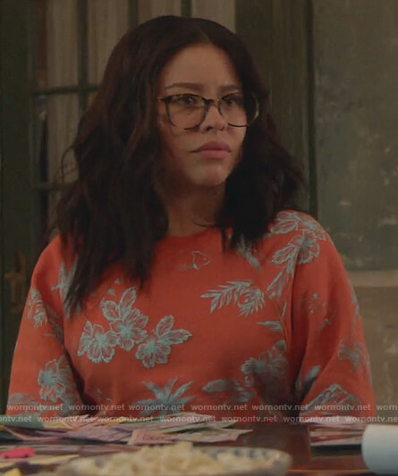 Mariana's red floral print sweatshirt on Good Trouble