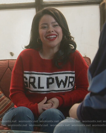 Mariana's red Grl Pwr sweater on Good Trouble