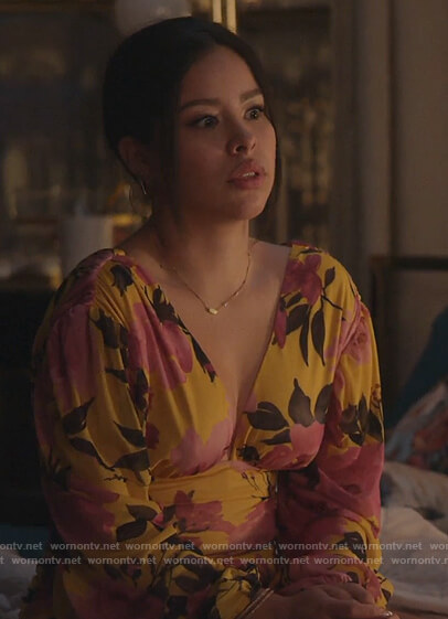 Mariana's yellow floral mini dress on Good Trouble