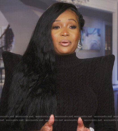 Marlo Hampton's black cable knit dress on The Real Housewives of Atlanta