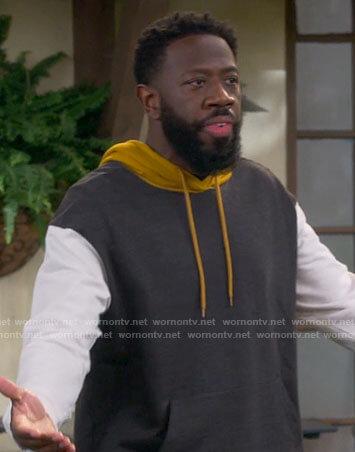 Malcolm's colorblock hoodie on The Neighborhood