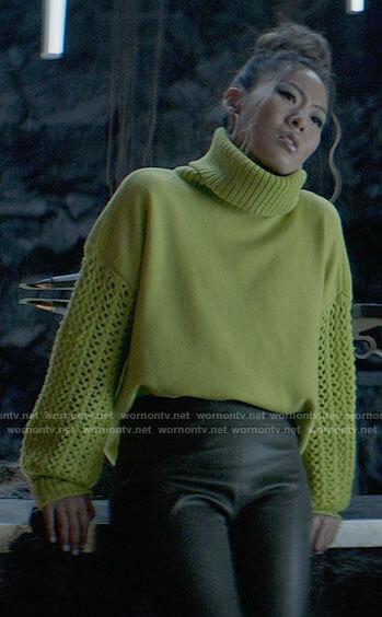 Mary's green crochet sleeve turtleneck sweater on Batwoman