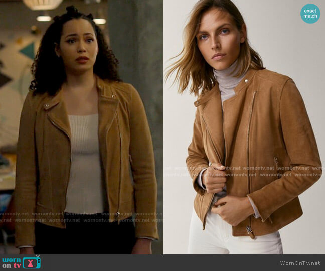 Massimo Dutti Suede Jacket with Zips worn by Macy Vaughn (Madeleine Mantock) on Charmed