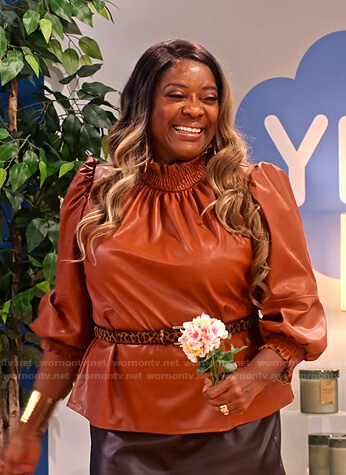 M'Dear's brown gathered neck leather top on Family Reunion