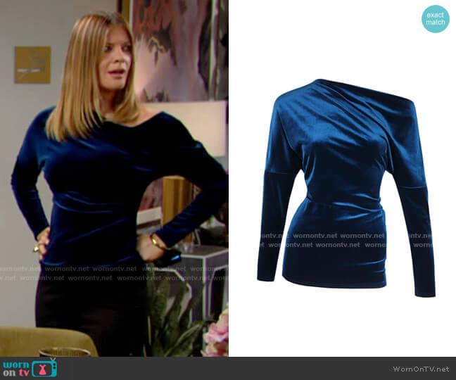 Me & Thee Ease Off Sapphire Velvet Top worn by Phyllis Summers (Michelle Stafford) on The Young & the Restless