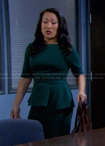 Melinda's green peplum dress on Days of our Lives