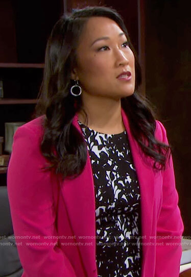 Melinda's black and white printed dress and pink blazer on Days of our Lives