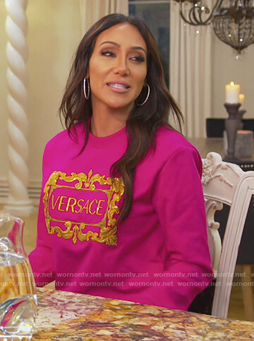 Melissa's pink Versace sweater on The Real Housewives of New Jersey