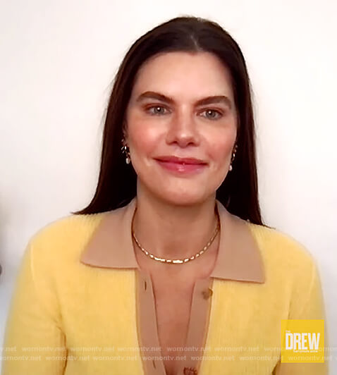 Meredith Koop's yellow contrast polo on The Drew Barrymore Show