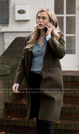 Michaela's olive coat on Manifest