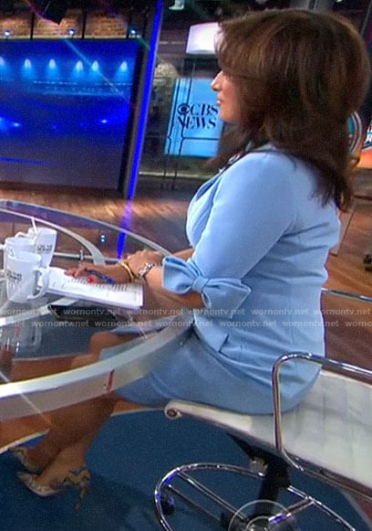 Michelle Miller's blue button front dress with bow sleeves on CBS This Morning