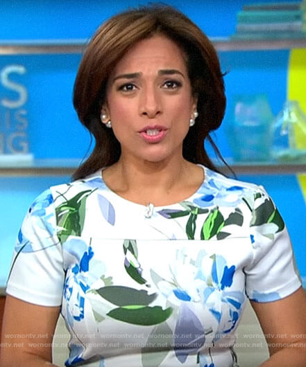 Michelle Miller's white floral short sleeve dress on CBS This Morning