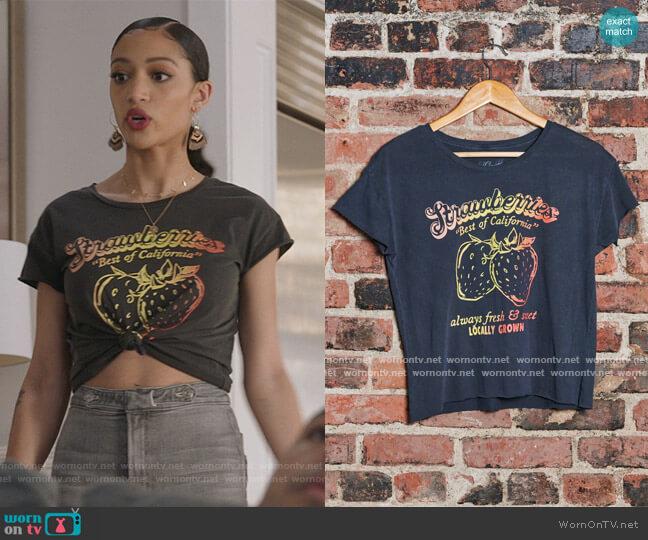 Strawberries Women's Cut Off by Midnight Rider worn by Olivia Baker (Samantha Logan) on All American
