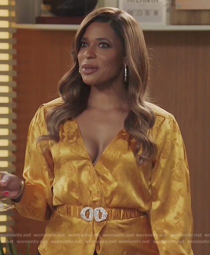 Mika's yellow belted satin wrap blouse on Kenan