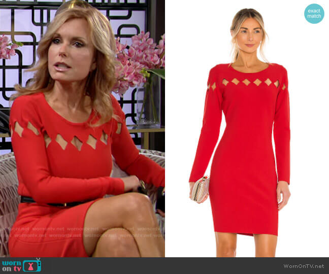 Milly Scallop Cutout Fitted Dress worn by Lauren Fenmore (Tracey Bregman) on The Young & the Restless
