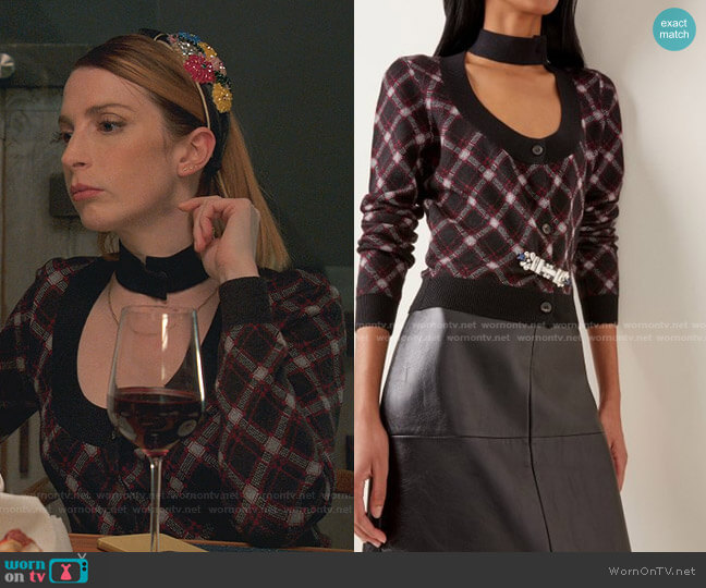 Embellished Cutout Plaid Wool Cropped Cardigan by Miu Miu worn by Lauren (Molly Bernard) on Younger