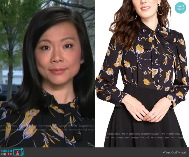 ModCloth Tie Neck Long Sleeve Blouse worn by Weijia Jiang  on CBS This Morning