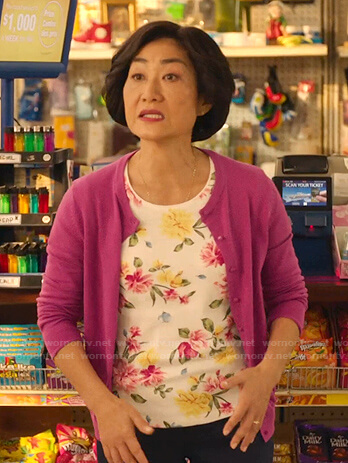 Mrs. Kim's white floral print tee on Kims Convenience