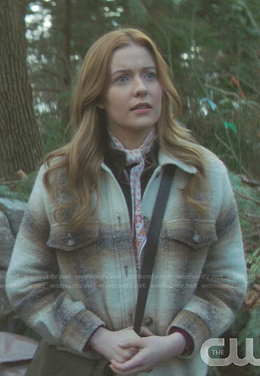 Nancy's plaid oversized flannel shirt on Nancy Drew