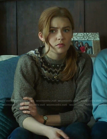 Nancy's fair isle sweater on Nancy Drew