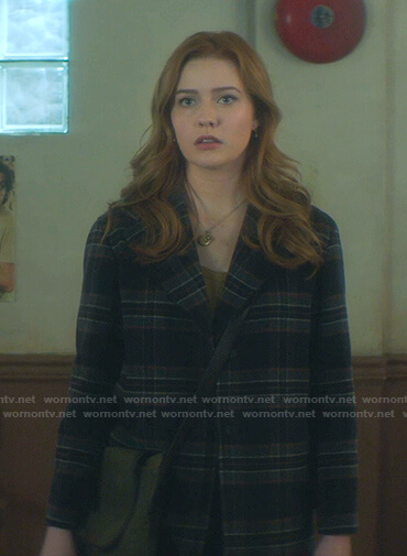 Nancy's navy plaid coat on Nancy Drew
