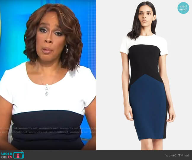 Narciso Rodriguez Colorblock Stretch Pebble Crepe Dress worn by Gayle King  on CBS This Morning