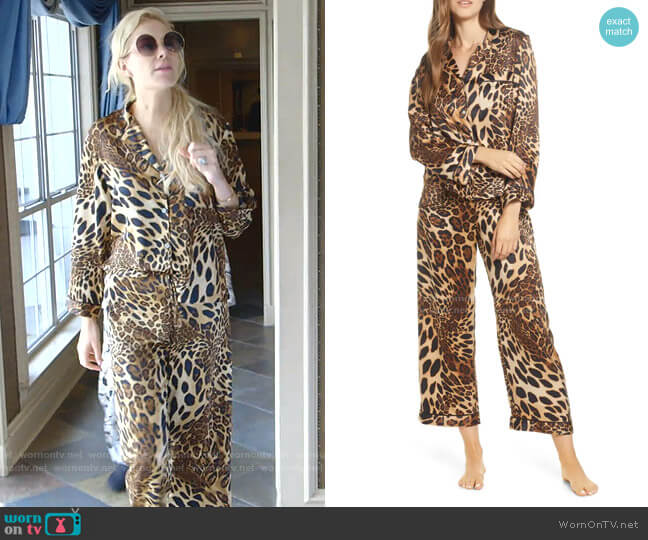 Leopard Print Satin Pajamas by Natori worn by Kameron Westcott  on The Real Housewives of Dallas