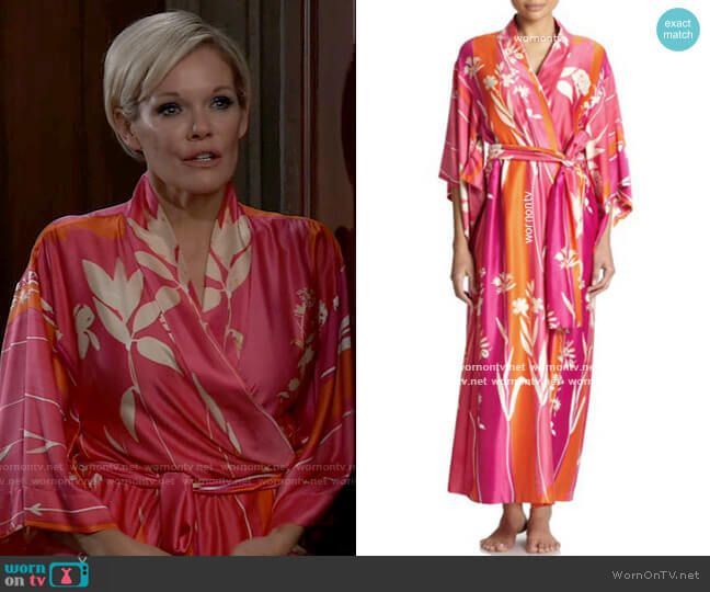 Natori Floral Robe worn by Ava Jerome (Maura West) on General Hospital