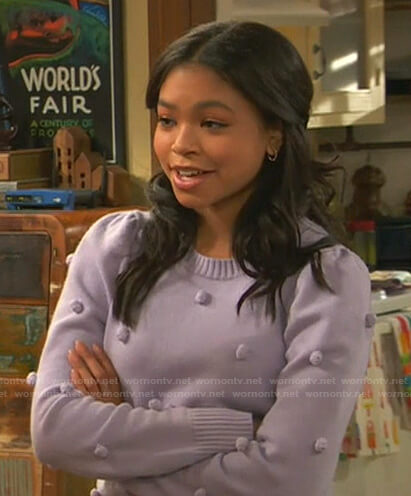 Nia's lilac bobble sweater on Ravens Home