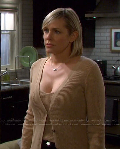 Nicole's beige ribbed top and long cardigan on Days of our Lives