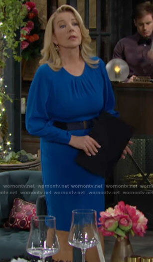 Nikki's blue dress with pleated neckline on The Young and the Restless