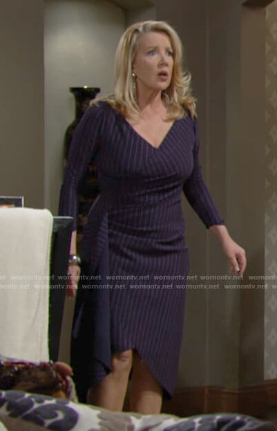 Nikki's navy pinstriped dress on The Young and the Restless
