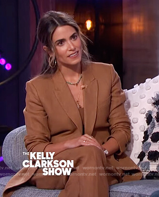 Nikki Reed's brown blazer and pants on The Kelly Clarkson Show