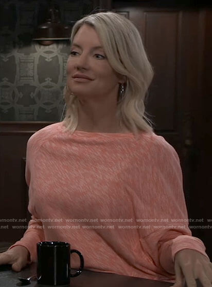 Nina's pink marled sweater on General Hospital