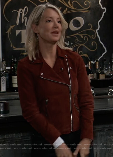 Nina's red suede moto jacket on General Hospital
