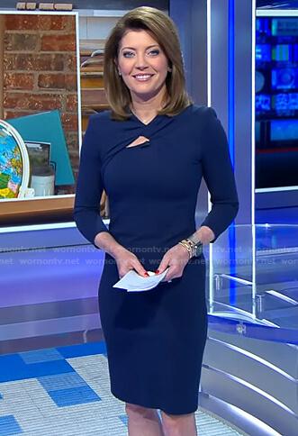 Norah's navy knotted neck dress on CBS Evening News